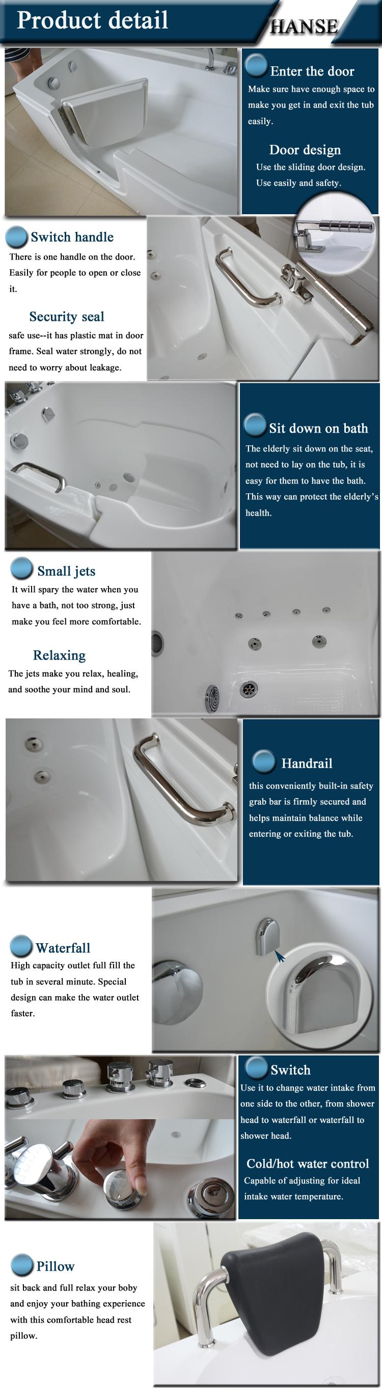 HS B1305T Soaking Tub With Seat/ Walk In Bath/ Elderly Bathtub
