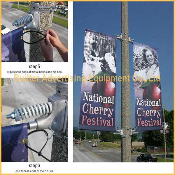 Professional lamppost banner sign mounting brackets