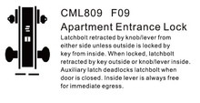CML809 Apartment Entranc Lock ANSI Commercial Mortise Door Lock