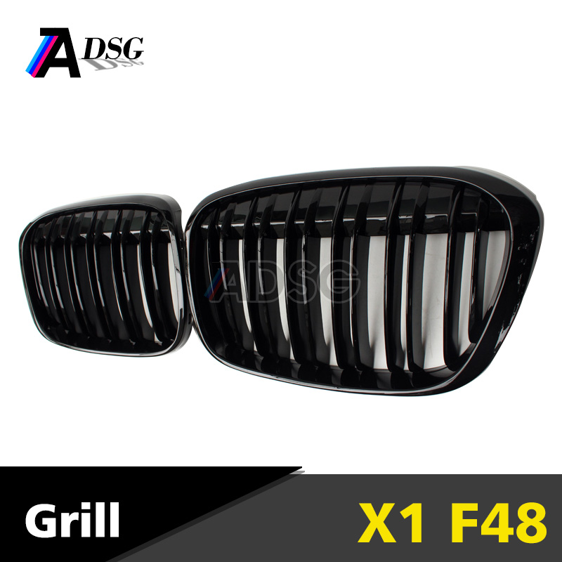 Dual-slat Gloss Black Car Front Bumper Cover Grille For BMW X1 F48