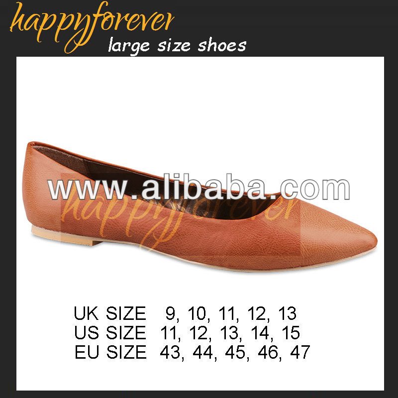 Pointed Toe Flats - Large Size Women Shoes (US11, 12, 13, 14, 15, UK9, 10, 11, 12, 13 EU 43, 44, 45, 46, 47) (1303-1PU)
