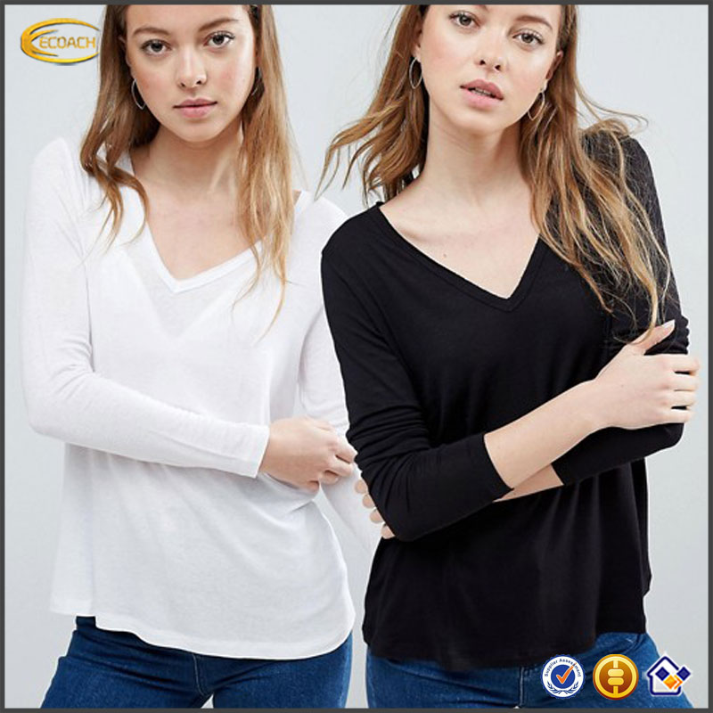 Ecoach Relaxed fit plain color new ladies Soft-touch jersey long sleeve tee custom print v neck white t shirt for casual wear