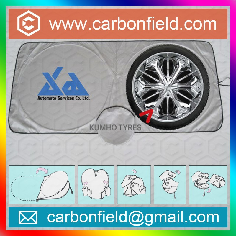 customized printing silver nylon front auto sunshades