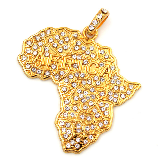 DAICY top quality hot sale cheap mens africa map shape iced out hip hop gold mens pendant
