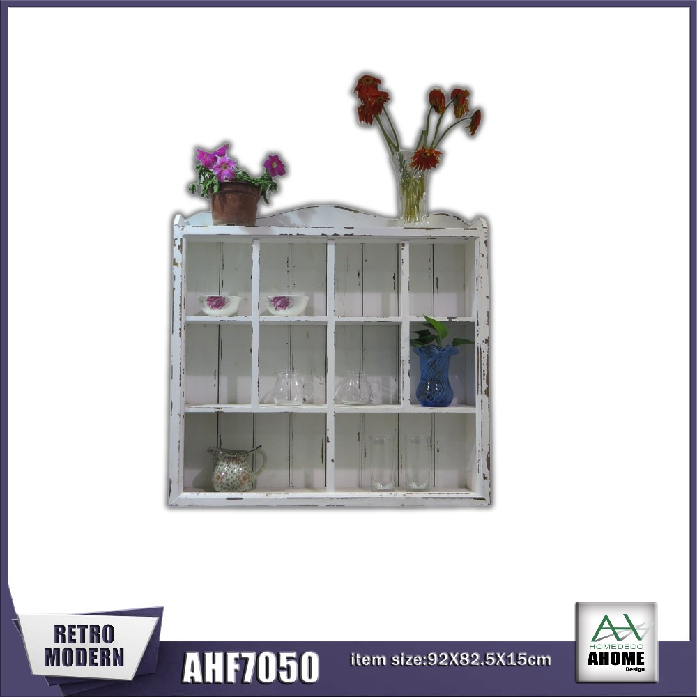 High Quality Wooden Wall Cube Shelf Antique White Wall Display Cabinet