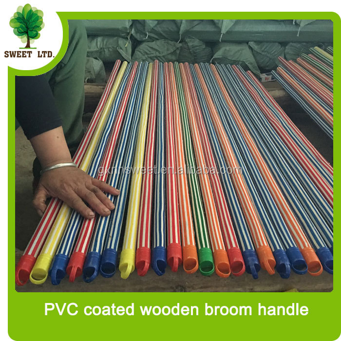 Well straight floor mop stick with PVC coated wood handle for broom