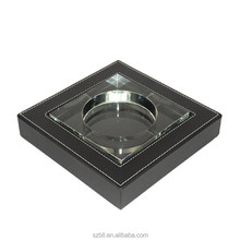 Cheap Glass Square Cigarette Ashtrays with Durable PU Leather Outer Box Holder