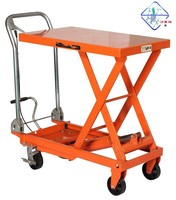 Store shop supermarket warehouse courier dismoutable metal Hydraulic lift ladder cart trolley