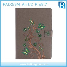 For iPad Air 2 case Flower , for iPad 2 case Butterflies , PU leather Case for iPad 3/4
