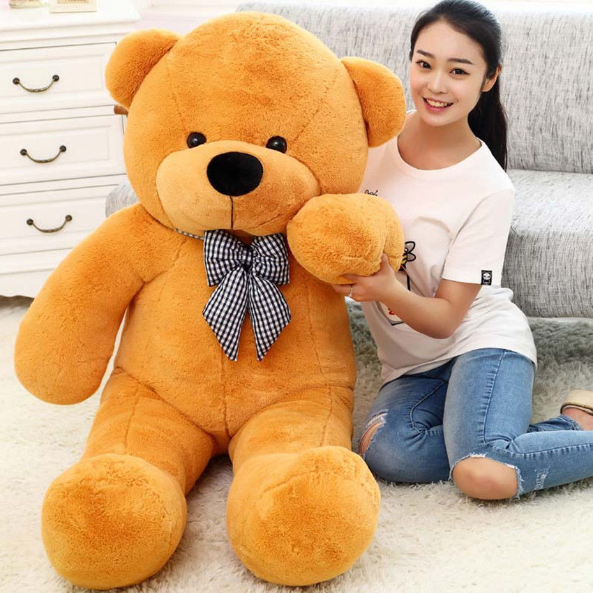 100 cm Cute Deep Brown Plush Teddy Bear Huge Soft 100% Cotton Toy