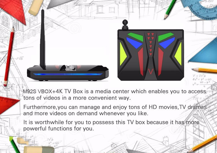 M92S VBOX Android 7.1.1 4K HDR TV BOX Amlogic S912 2G/16G 802.11AC WIFI 1000M LAN Bluetooth HDMICEC