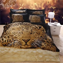 New Arrival 5D Oil Painting Leopard Printed 100% Egyptian Cotton Bedding Set