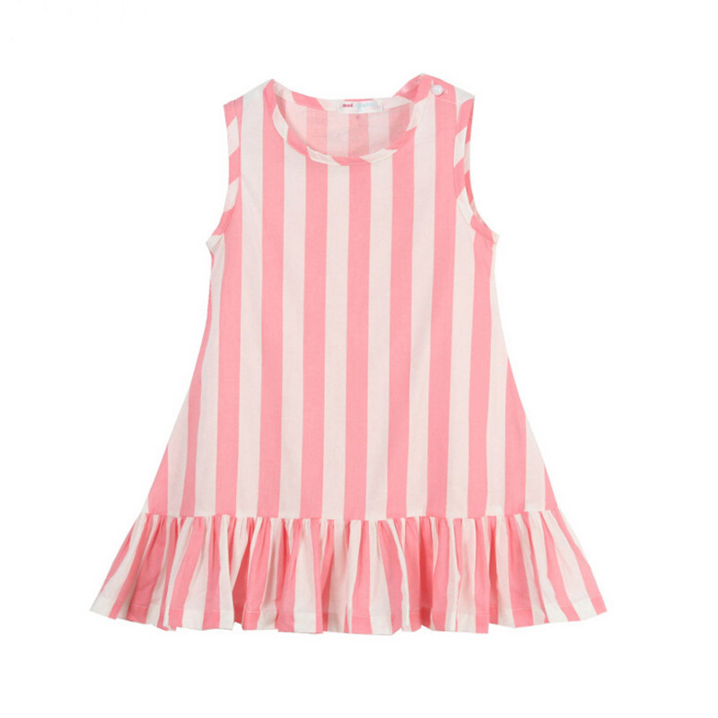 Girls Dresses Summer 2015 Cotton Striped Dot Printing Kids Clothes Princess Dress Kids Dress For Girls Fashion Girls Clothes