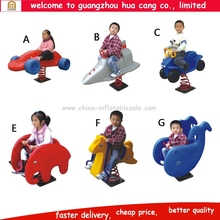 Amusement park children spring ride, playground kids animal spring rider