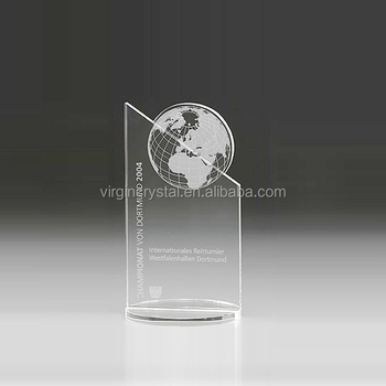 Wholesale New design crystal plaque awards trophy with globe