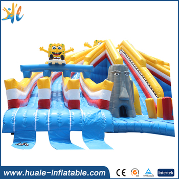 Huale giant SpongeBob inflatable adult water slides for water park swimming pool
