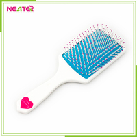 custom cushion injection big square paddle plastic handle hair brush