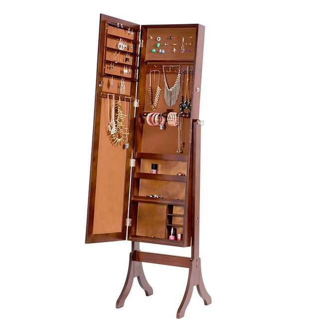 Cheval Mirror Jewelry Storage Cabinet For Living Room