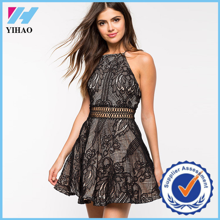 Wholesale yihao new summer women sexy dresses fashion pakistani black colour clothes 2016
