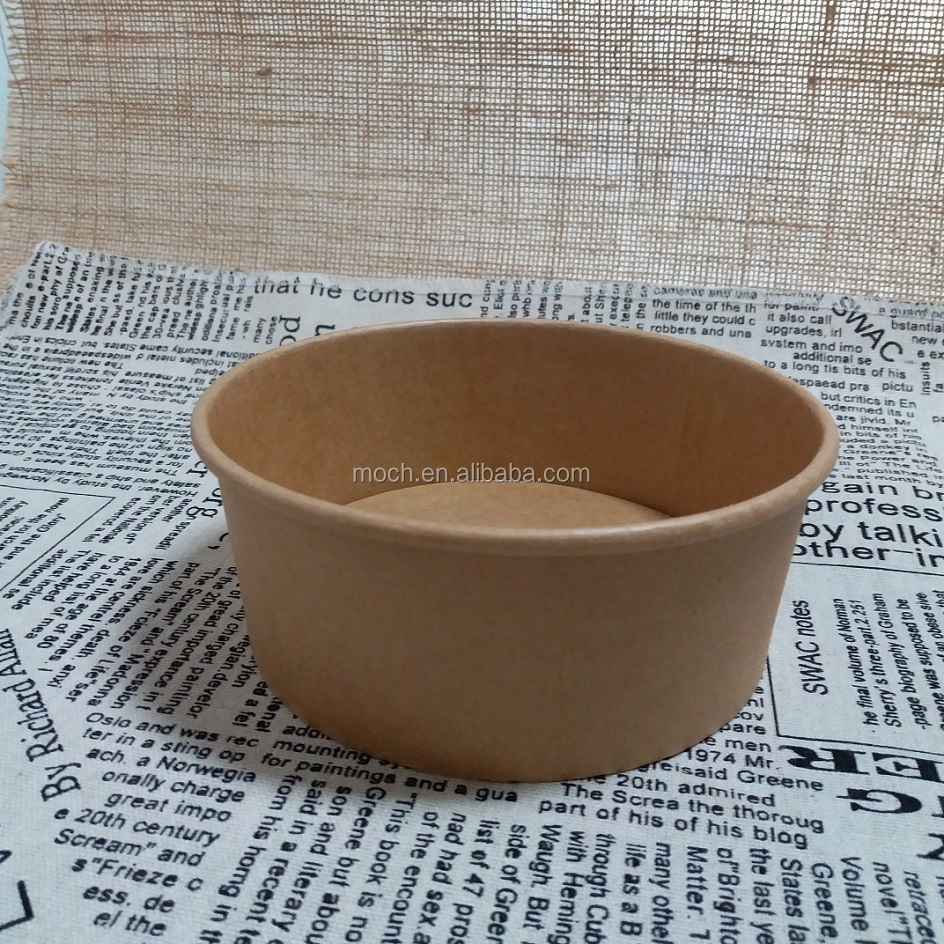 Disposable Food Container Compostable Kraft Soup Paper Bowl