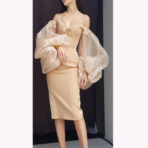 2018 Latest Design Ladies V Neck Long Puff Sleeve Mesh Party Dress Sexy Formal Bodycon Bandage Dress