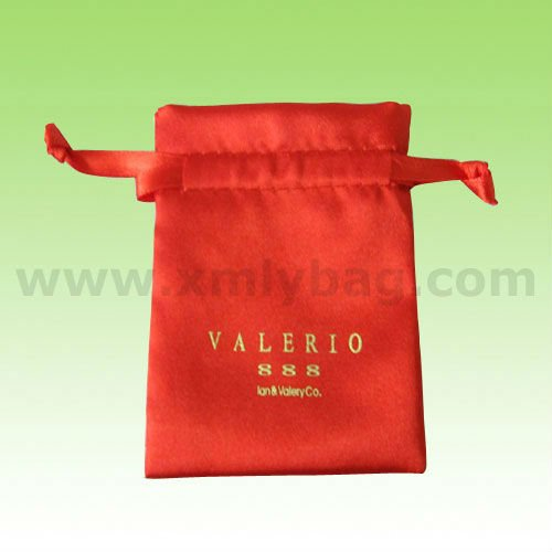 High Quality Drawstring Satin Custom Printed Jewelry Pouches