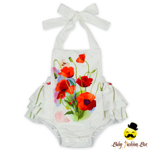 HYB179 Yihong Wholesale newborn baby clothes white big ruffle flower halter romper 1 Year Old Baby Clothes