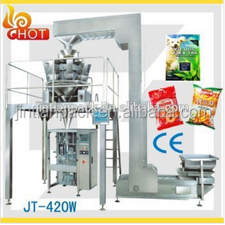 JT-420W sugar /potato chips /nuts /candy/cookie pouch snacks packaging machine