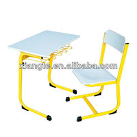 Single school desk and chair/wooden desk top & steel frame classroom chairs with tables/student table sets