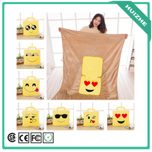 Factory Custom Logo 2 In 1 Emoji Pillow Blanket