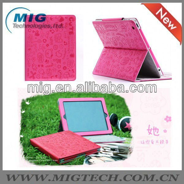 Little gril magnetic leather case for ipad3 4 5, for ipad cover with stand
