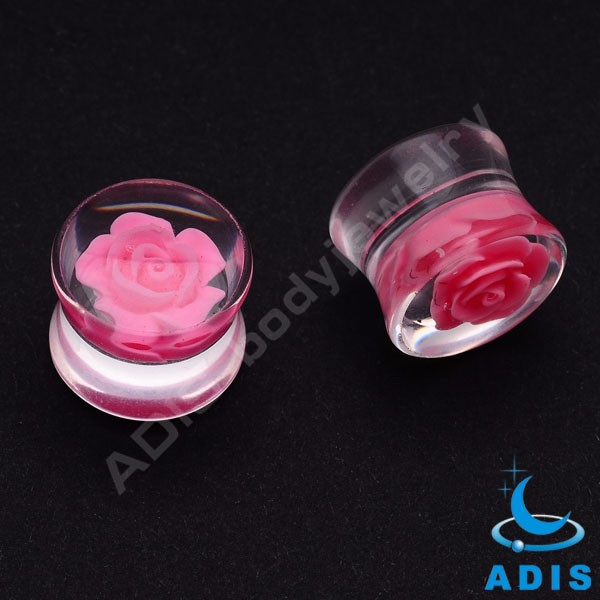 2017 latest design acrylic rose inlay ear tunnel jewelry piercing wholesale