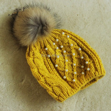 Crochet Winter Knitted Handmade raccoon fur pompom hat