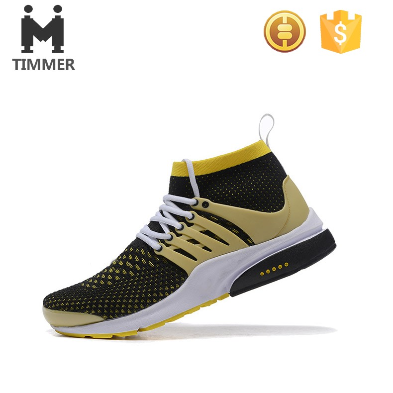 2016 high ankle men comfortable casual shoes flyknit upper material sports shoe