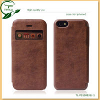 Leather case for IPHONE 5C with window auto sleep function