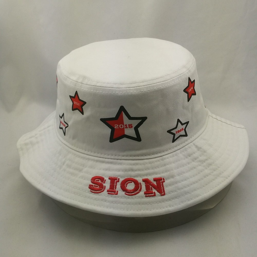 100% cotton white bucket hats for white printed pattern and embroidery logo