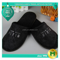 Terrycloth Hotel Slippers Black Custom Towel