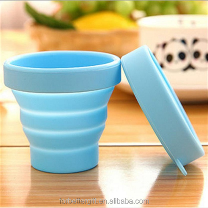 170ml/200ml Food Grade silicone folding <strong>cup</strong>, silicone collapsible <strong>cup</strong>, silicone pocket <strong>cup</strong> with lid