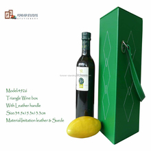 wine glass packing box for sweet red wine with leather handle