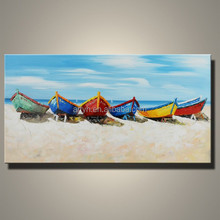 Wholesale Latest Picture Knife Boat On The Beach Oil Painting