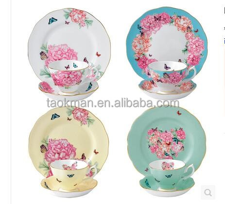 tangshan bone chain flower style Ceramic tea cup and saucer set