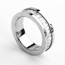Custom made high polished magnetic silver men's titanium rings for wedding