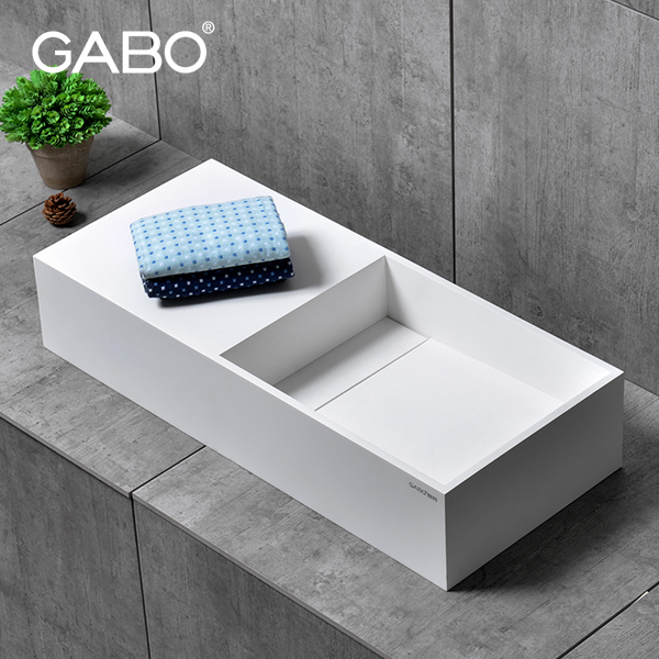 Italian style square solid surface bathroom wash basin