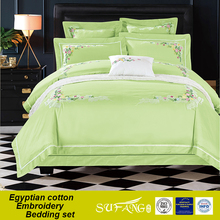 Light green colour bridal lace bedding comforter, cheap bed sheet set