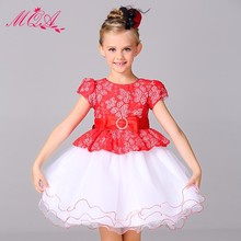 SGS Certificate Best Price Famous Brand Lace Girl Fashion Red Dress L15099