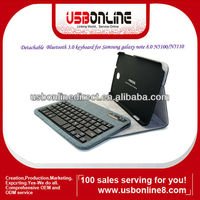 Detachable Bluetooth 3.0 keyboard case/cover for Samsung galaxy note 8.0 N5100/N5110 cyan/gray