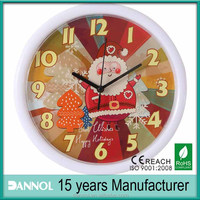 promotion gift 10 inch small round wall clock christmas 2014