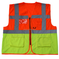 Best price reflective warning vest with waterproof pocket for road safety