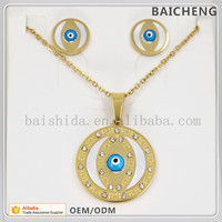 Gold plated indian jewelry Blue Eyes jewelry set Round cheap accessories jewelry sets