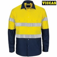 Men's 100% Cotton Outdoor Safety Reflective Work Shirts